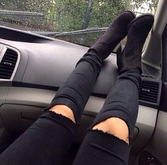 jeans ripped jeans black black jeans shoes