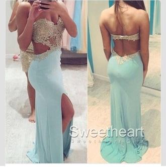 dress light blue gown backless