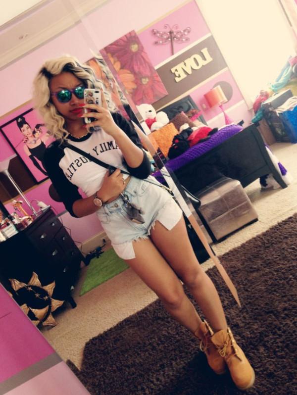 t-shirt black white crop tops sweater sunglasses shorts shoes shirt zonnique pullins omg girlz High waisted shorts beautiful bahja cut off shorts top