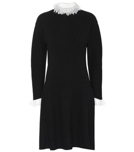 Philosophy Di Lorenzo Serafini Lace-trimmed wool-blend dress in black