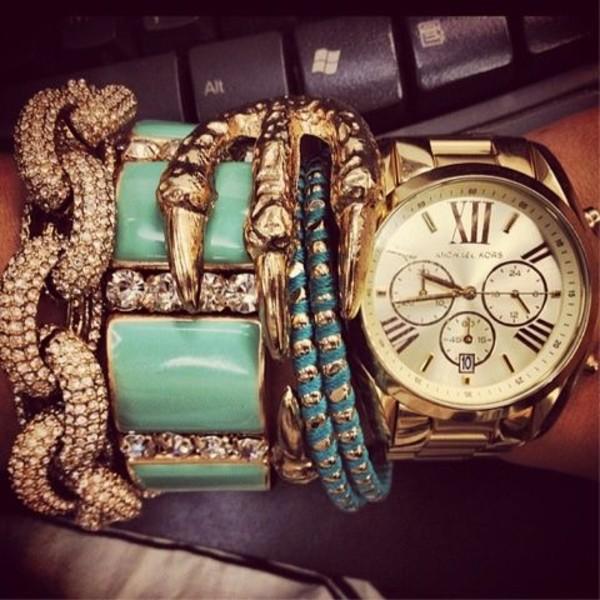 jewels claw gold bracelets diamonds sparkle green mint