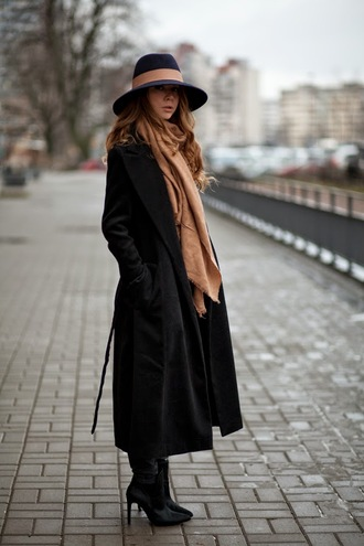 acid coke blogger hat scarf long coat winter coat winter outfits black coat