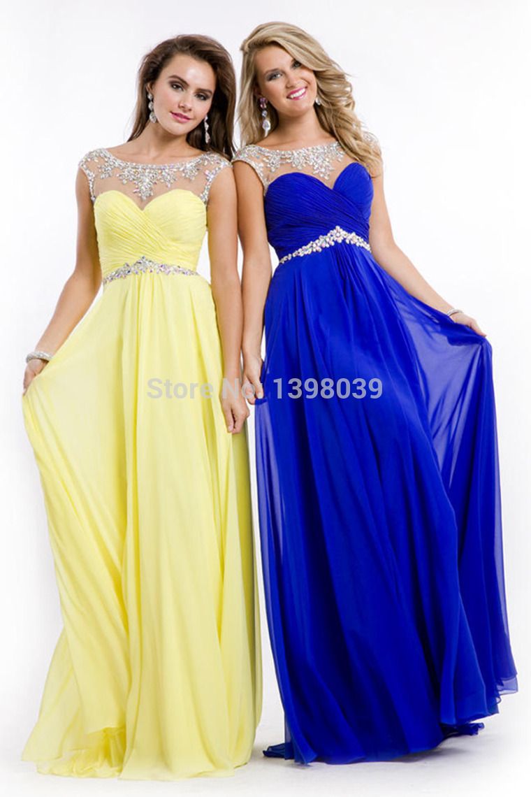 Aliexpress.com : Buy Best Selling Royal Blue Yellow Chiffon Long Prom Dresses 2014 Crystal Party Dress Evening Formal Gowns from Reliable dresses female suppliers on Silence Angle