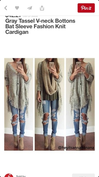 scarf jeans cardigan