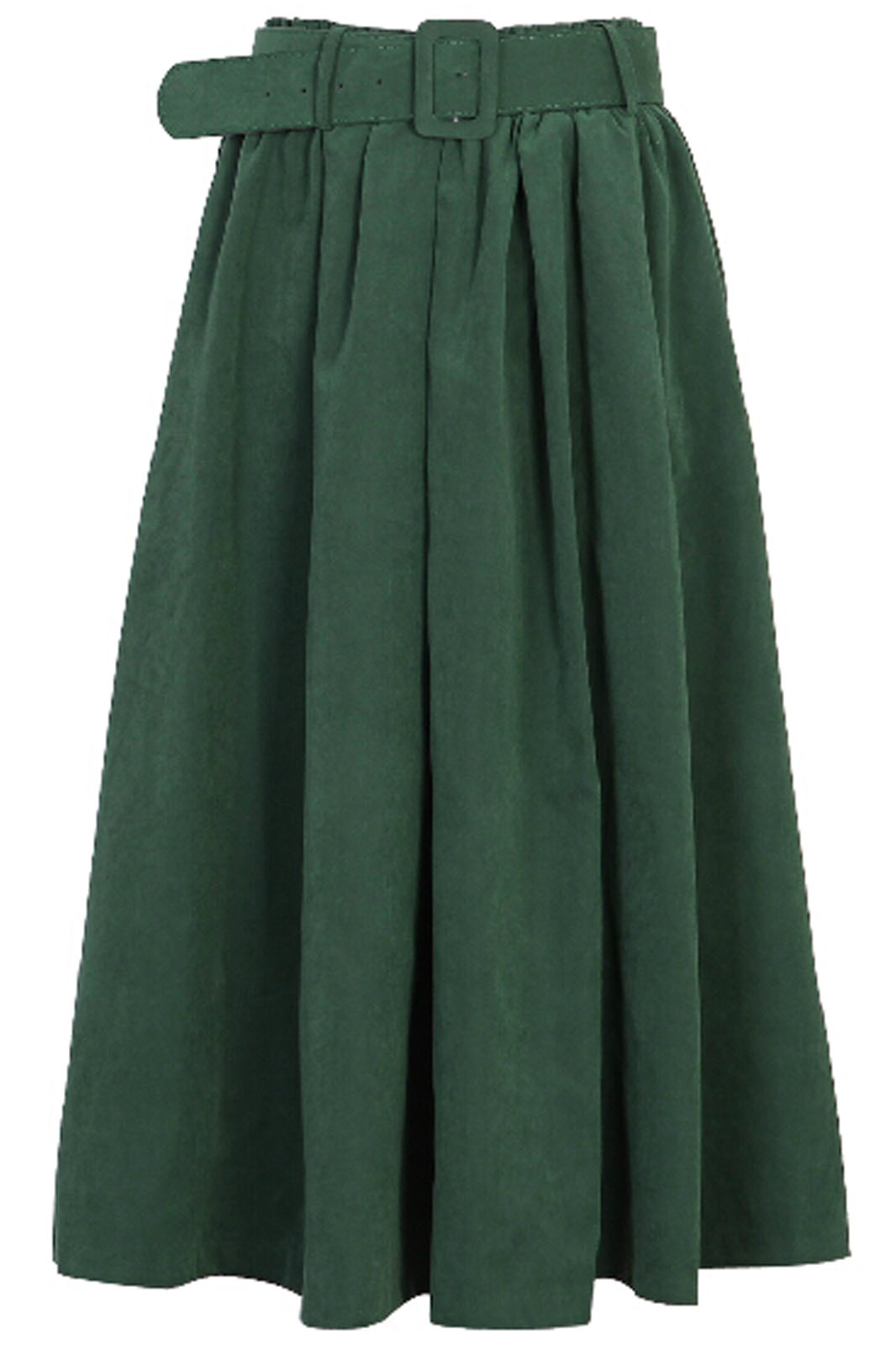 ROMWE | Pleated Belted Dark Green Skirt, The Latest Street Fashion