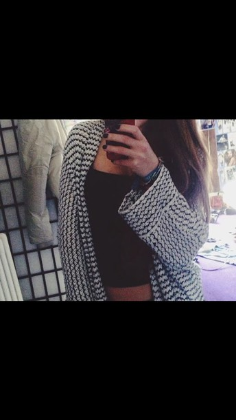 cardigan black and white laine long