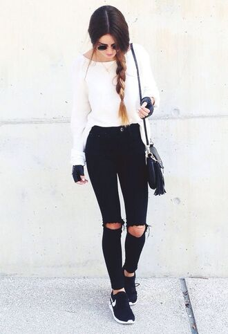 shoes white sweater black distressed jeans black sneakers blogger sunglasses