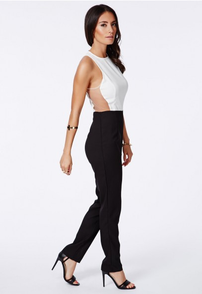 Gerda Monochrome Mesh Detail Jumpsuit - Jumpsuits & Playsuits - Jumpsuit - Missguided