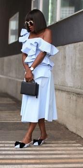 skirt,midi skirt,mules,bow mules,one shoulder blouse,ruffle blouse,boxe bag,blogger,blogger style