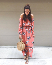 dress,tumblr,pink dress,floral,floral dress,off the shoulder,off the shoulder dress,floral maxi dress,maxi dress,sandals,flat sandals,bag,round tote