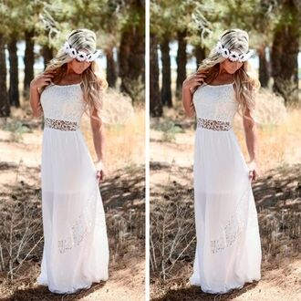 dress long dress white dress long white dress long prom dress white prom dress boho dress bohemian cardigan hair accessory