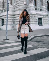 skirt,denim skirt,short skirt,black boots,over the knee,checkered blazer,tortoise shell,black t-shirt