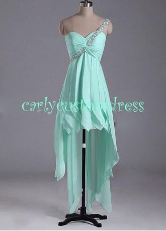 dress prom dress high-low dresses mint green prom dress lace