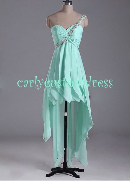 dress prom dress highlow dresses mint green prom dress