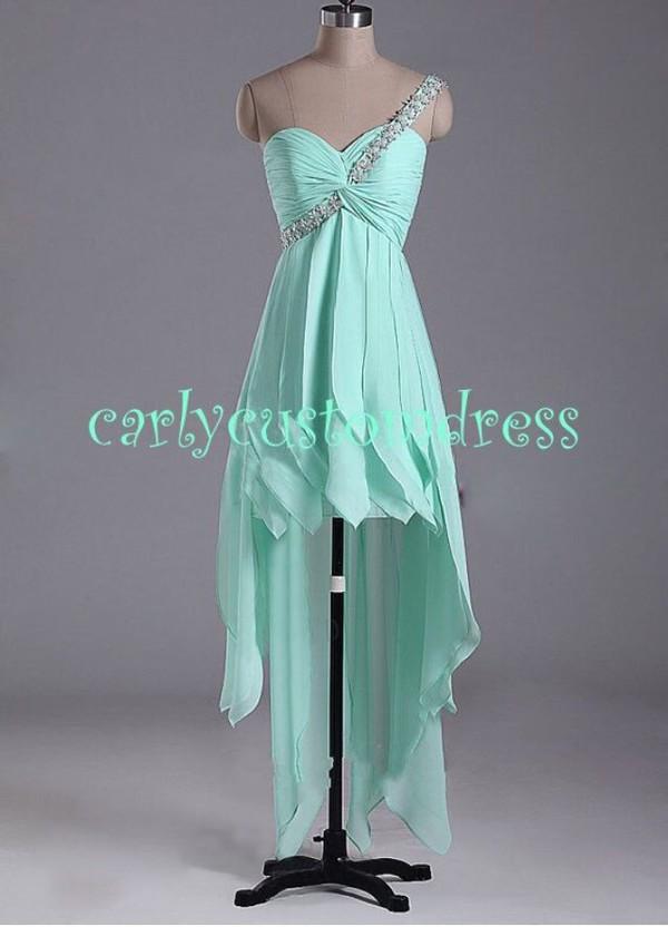 dress prom dress highlow dresses mint green prom dress