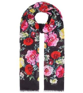scarf floral cotton black
