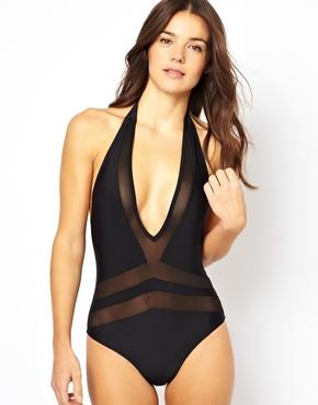 ASOS | ASOS Mesh Insert V Plunge Swimsuit at ASOS