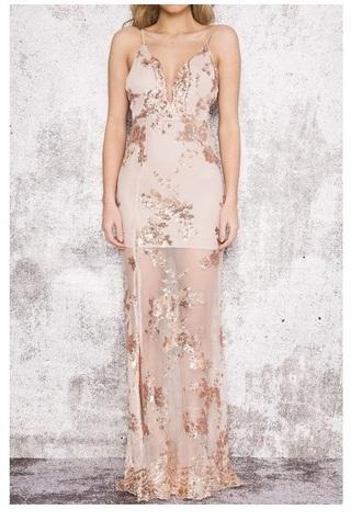 dress gown maxi sequins rose gold gold