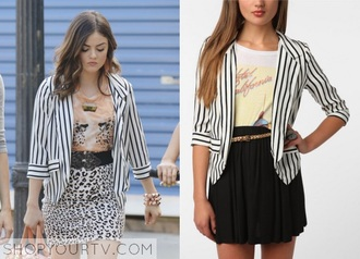 jacket blazer stripes sweater pretty little liars black and whtie