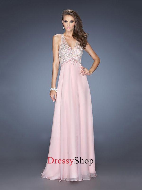 Pretty Halter Beadings Crisscross Back Long Chiffon Prom Dress PD11649