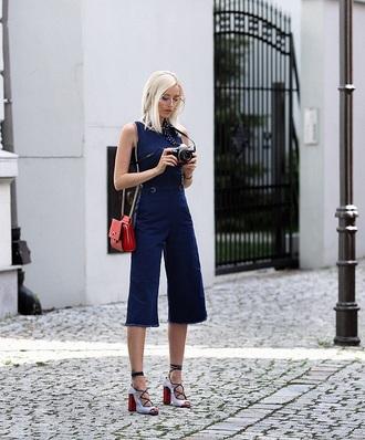 jumpsuit tumblr cropped jumpsuit denim jumpsuit denim overalls overalls bag red bag sandals sandal heels high heel sandals