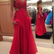 Red a-line chiffon lace long prom dress, red evening dress - 24prom