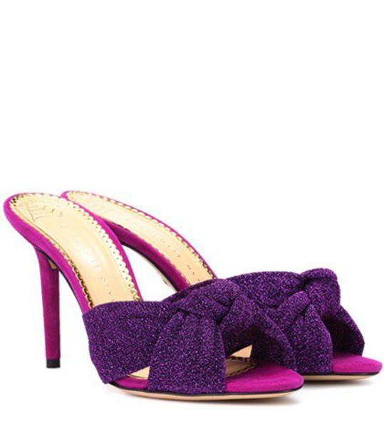 charlotte olympia metallic mules purple shoes