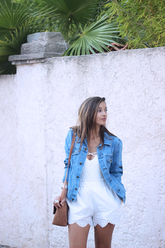 black and white - she wears blogger shorts denim jacket white romper lace romper shoulder bag brown bag