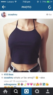 top,halter neck,halter top,black crop top,brandy melville,ribbed,black,croptoptshirt,tank top,shirt,crop tops,cute,summer,fashion,blue,black ribbed top,navy,love