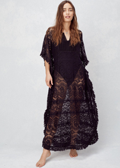 dress,lovestitch,caftan,lace,lace caftan,black,boho,bohemian,cotton,elegant,sheer,black dress,bohemian dress,cover up,fringes,fringed top,beach,summer