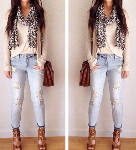 bag jeans leather bag scarf high heels brown heels leather bag brown blouse pink blouse pastel pink blouse