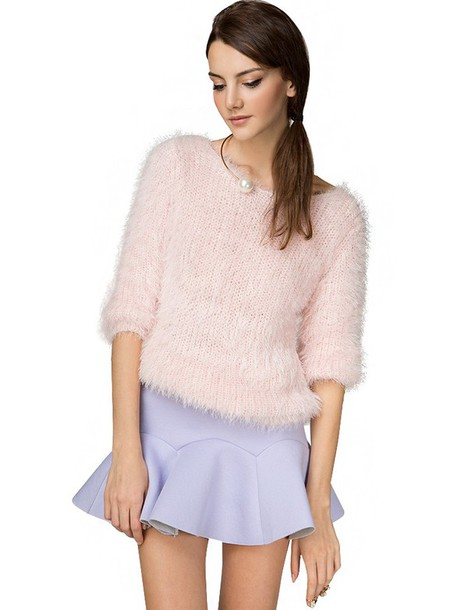 pink fuzzy sweater fall outfits fall trends pre fall back to school trendy sweaters soft pink knit baby pink knit fuzzy sweater pink sweater transitional pieces fall outfits cute sweaters baby pink sweater clueless inspired affordable sweaters pixie market pixie market girl