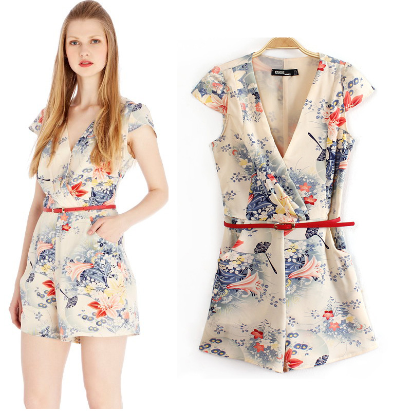 Aliexpress.com : Buy 2014 Women's fashion rustic print short sleeve V neck shorts jumpsuit free shipping high quality from Reliable jumpsuits plus size women suppliers on LOOK BOOK STORE WHOLESALE.