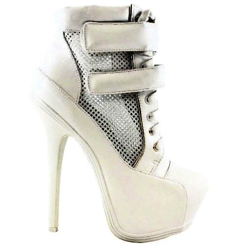 67 mesh platform high heel ankle bootie