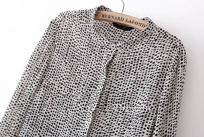 Black White Polka Dot V Neck Long Sleeve Chiffon Blouse - Sheinside.com