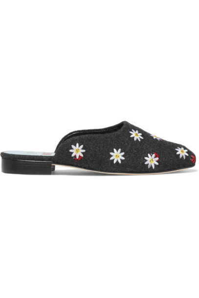 embroidered embellished slippers charcoal shoes