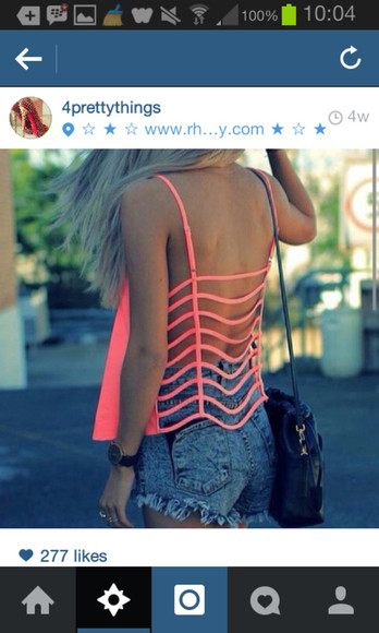 top neon blouse beautiful pink cut outs tumblr model