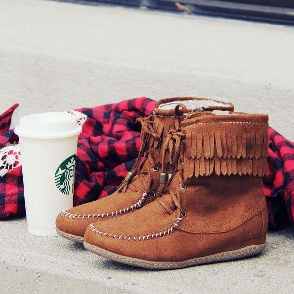 Soda chestnut fringe moccasin lace up boots