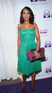 dress,kerry washington,green dress,bag