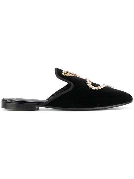 women embellished mules leather black velvet shoes