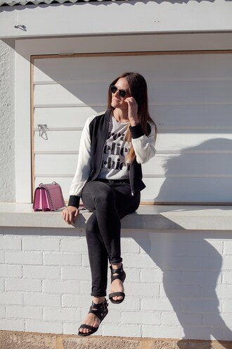 inspiring wit blogger jacket t-shirt jeans bag sunglasses shoes pink bag bomber jacket flats black jeans spring outfits