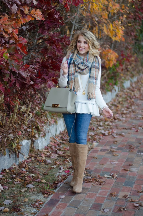 something delightful blogger sweater scarf jewels shoes bag fall outfits knee high boots handbag
