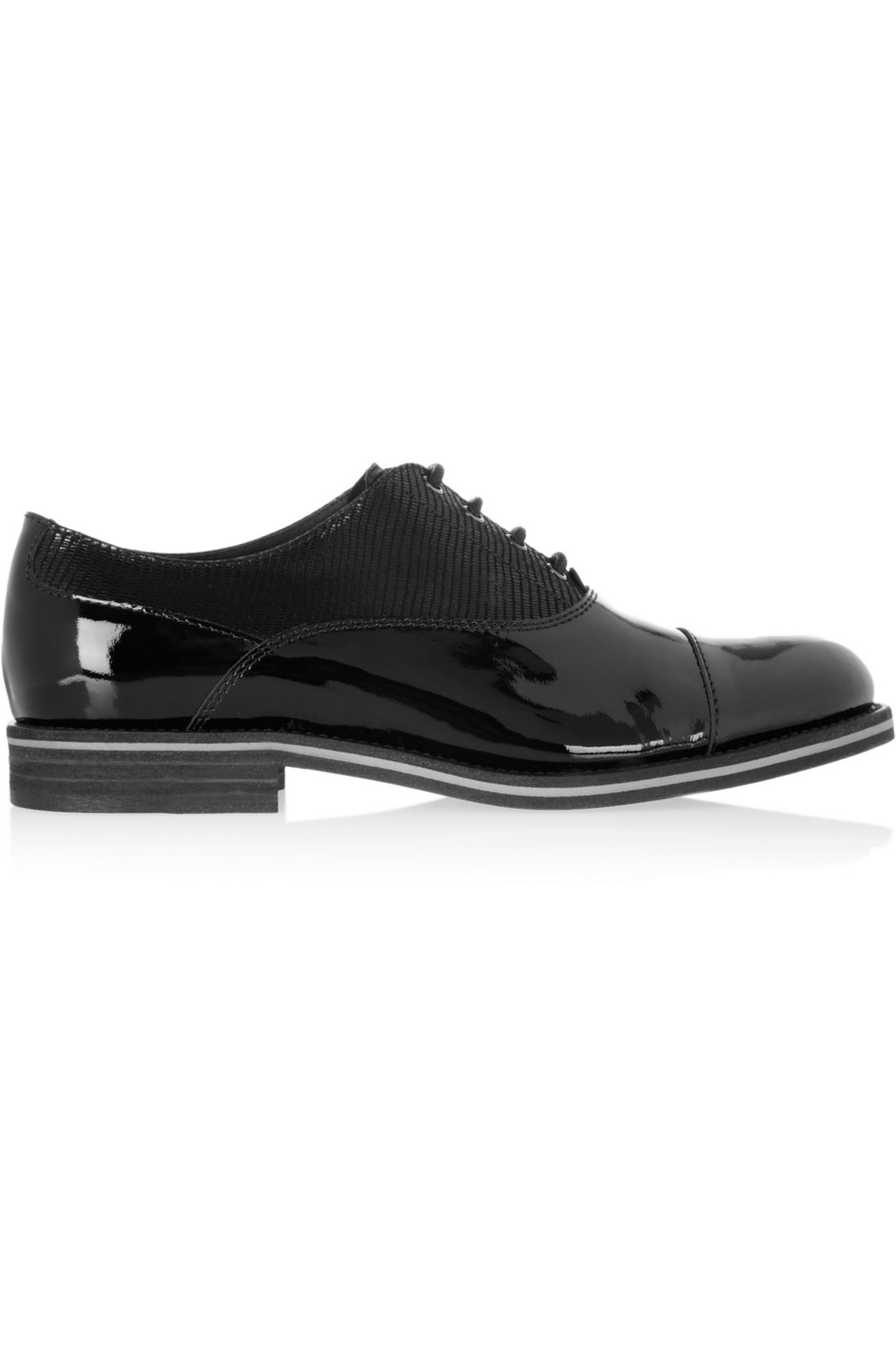 Lizard-effect paneled patent-leather brogues | THE OUTNET