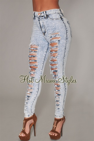 Blue Acid Wash Denim Destroyed High-Waist Skinny Jeans