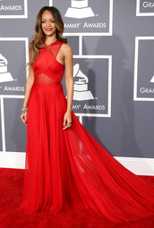 dress,rihanna,red,grammy,prom dress,red dress,formal dress,graziadressau,red carpet dress,robe de soirée sexy,celebrity style,rihanna red dress,prom,chiffon,long prom dress,sheer,red lipstick,long,grammys 2013,beautiful,chic,gown,red prom dress,see through