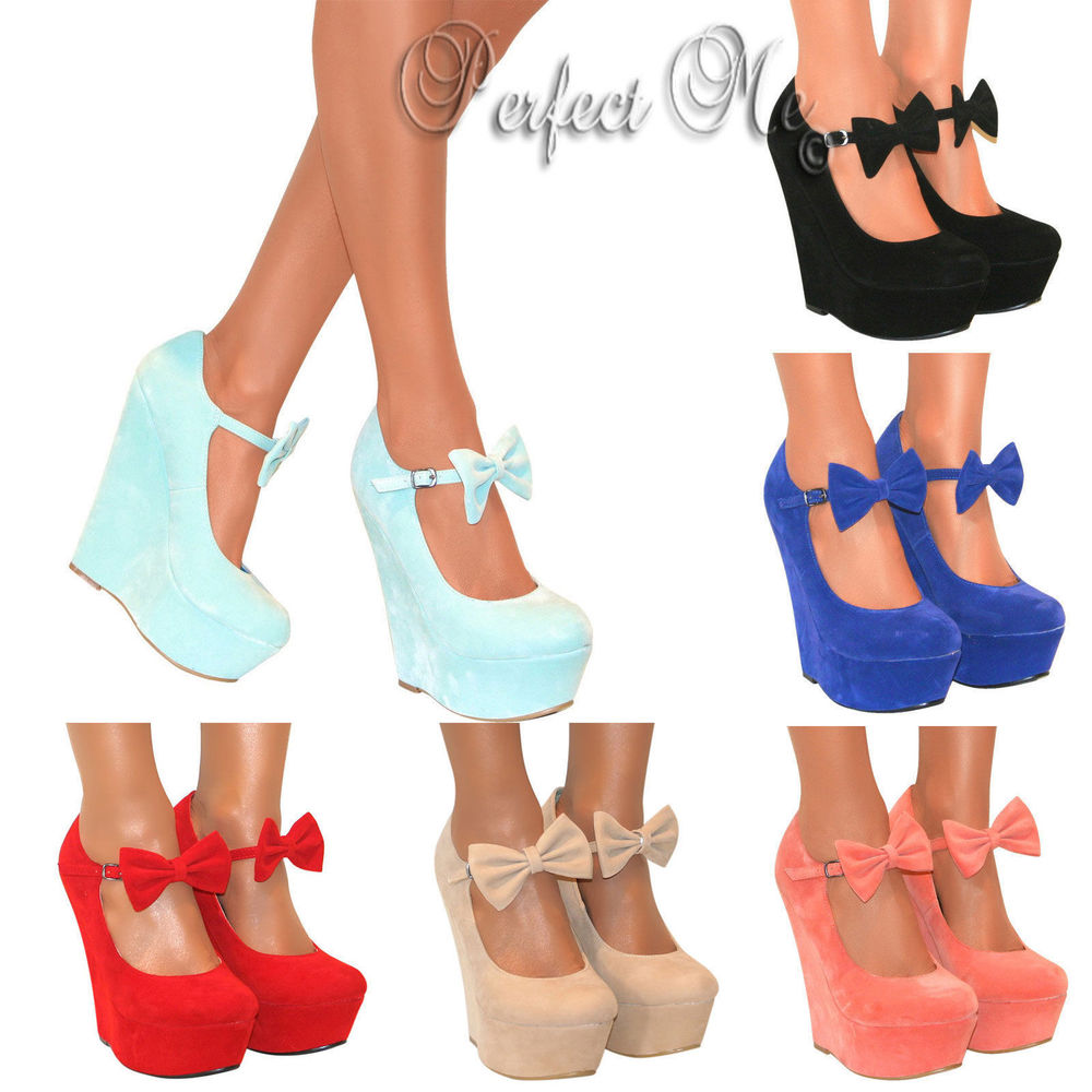 Ladies Mary Jane Bow High Wedge Heels Shoe Platform Strappy Summer Sandal Size | eBay