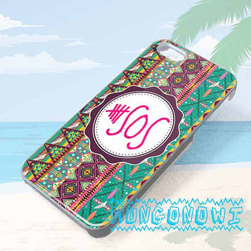 iphone 5 5S 5C 4 4s hard case, galaxy s3 s4 s5 hard case, htc one x hard case, 5 second of summer aztec chevron 5 sos on Wanelo