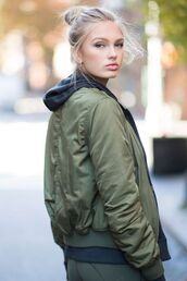 jacket,tumblr,army green jacket,khaki bomber jacket,green bomber jacket,bomber jacket,hoodie,blonde hair,hair bun