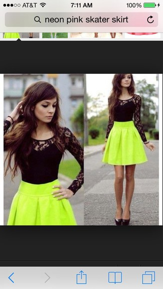 skirt neon skirt dress black lace top blouse skater skirt cute
