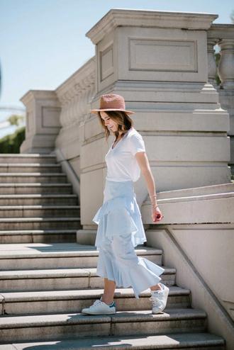 skirt tumblr midi skirt ruffle t-shirt white t-shirt sneakers white sneakers felt hat shoes hat